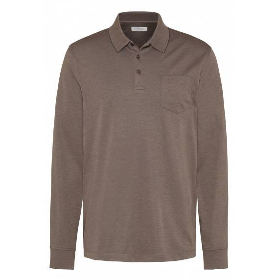 Langarm Polo in Taupe