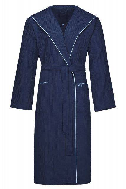 Hooded bathrobe in navy