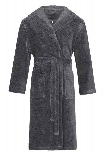 Hooded bathrobe in graphite