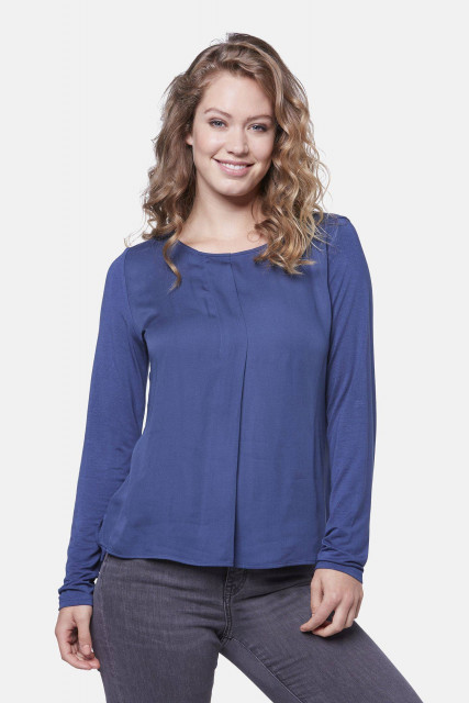 Long-sleeved shirt in navy blue