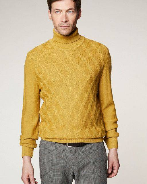 Turtleneck jumper in mustard yellow