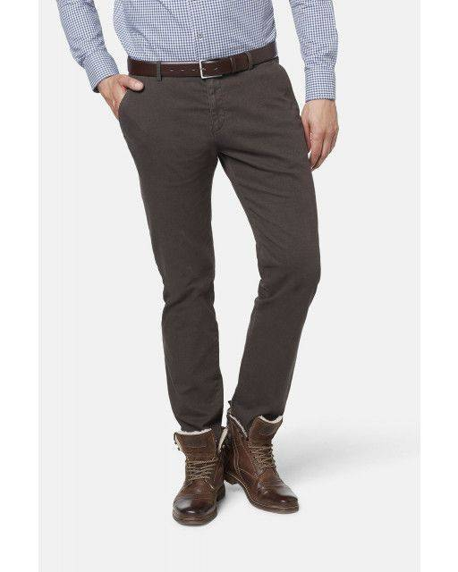 Flat-front trousers in brown