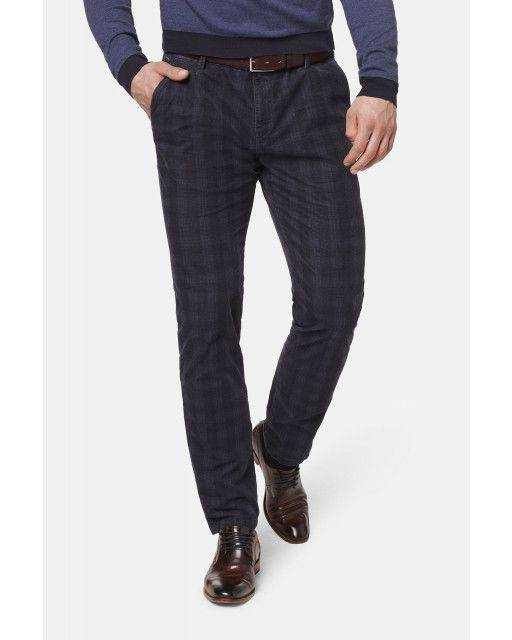 Flat-front trousers in dark blue